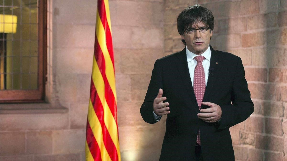 El president Carles Puigdemont, durante su discurso con motivo de la Diada.