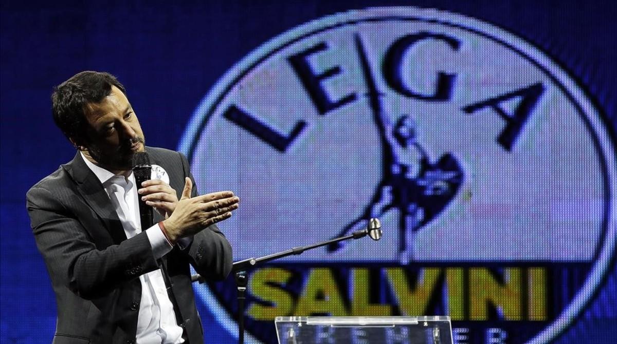 Matteo Salvini, el líder de la Liga, durante un mítin electoral el 1 de marzo, en Roma.