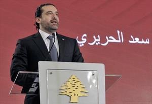 Saad Hariri, durante una conferencia el viernes en Beirut.