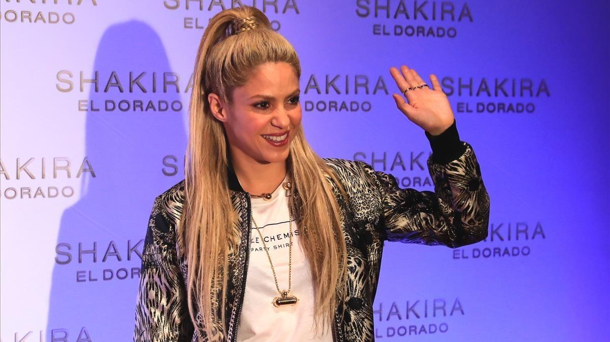 Shakira, en la presentación de su último disco, El Dorado, en el Convent dels Àngels, en Barcelona, en junio del 2017.