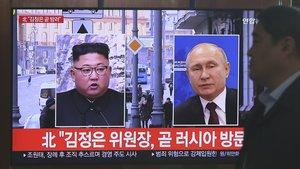 Medios de Corea del Norte informan sobre la reunión deKim Jong-un y Vladimir Putin.