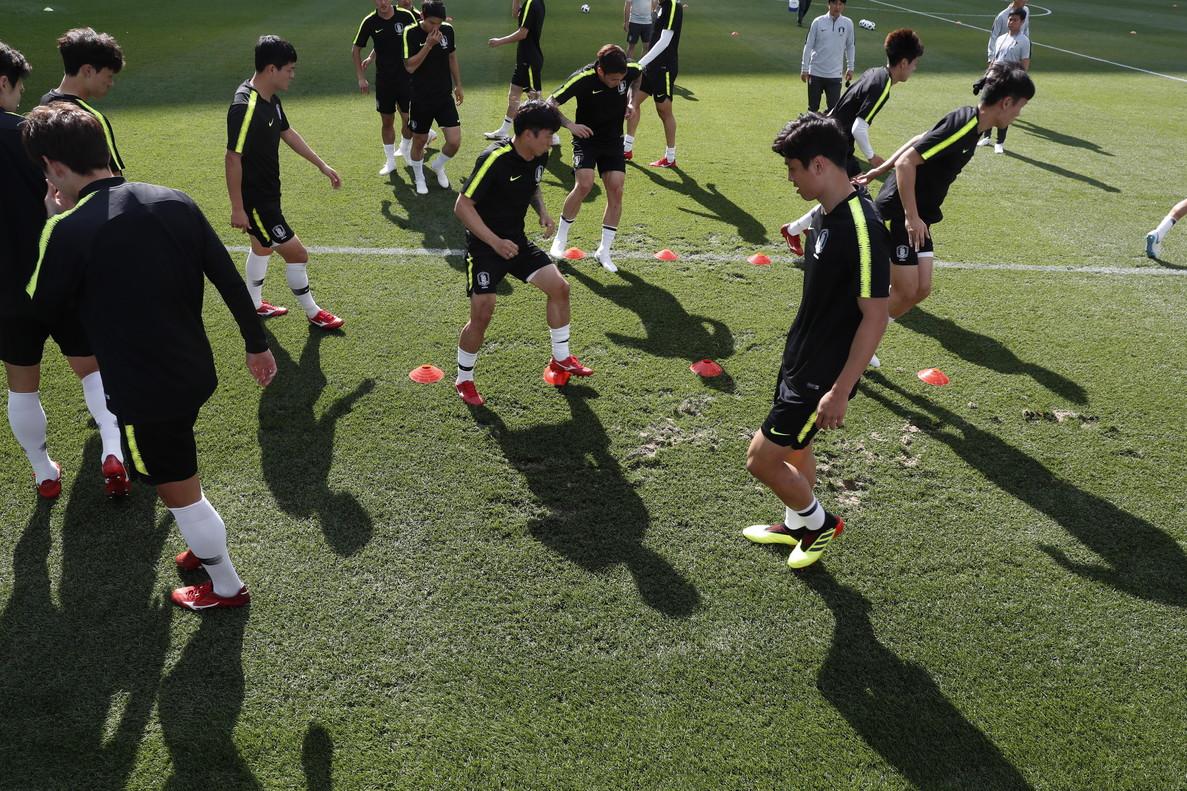 Corea, en su último entrenamiento.