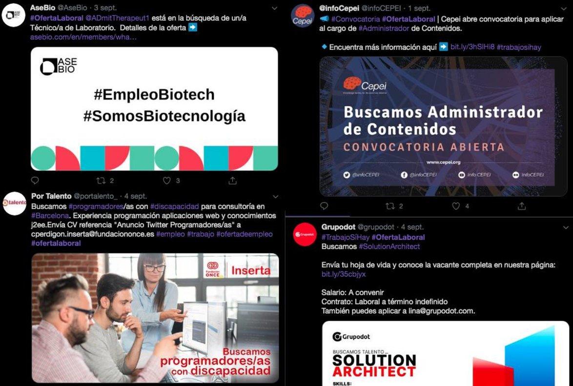 Algunas ofertas de empleo anunciadas en Twitter con elhashtag #ofertalaboral.
