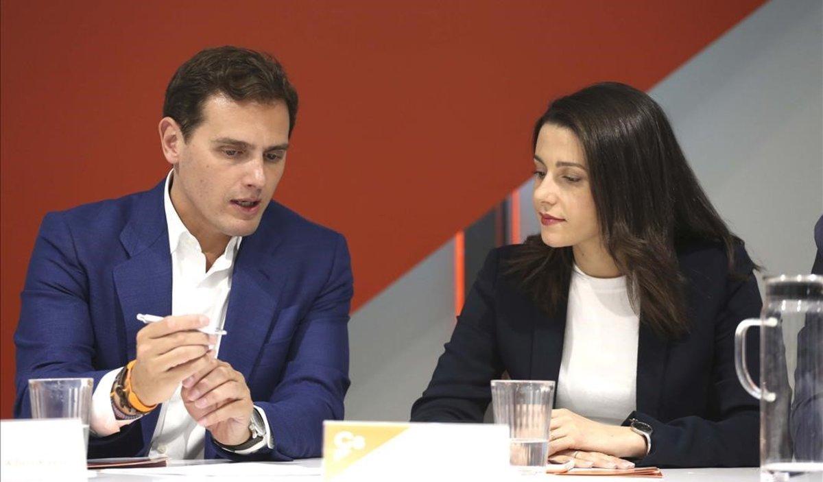 El presidente de Ciudadanos, Albert Rivera, con Inés Arrimadas en el Comité Ejecutivo.
