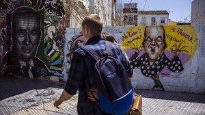 Uno de los grafitis con la cara de Chiquito de la Calzada que hay en las calles de Málaga.