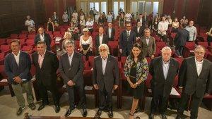 En el centro,Josep Sánchez Llibre, presidente de Foment del Treball, durante el acto de este miércoles.
