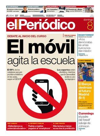 La portada d'EL PERIÓDICO del 8 de setembre del 2019
