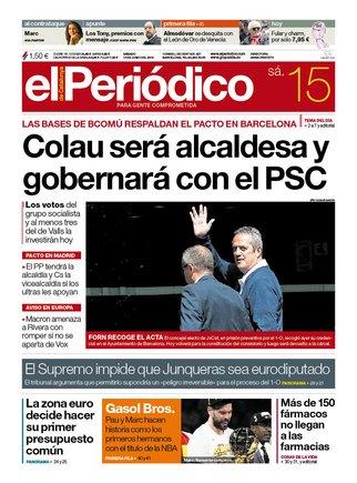 La portada d'EL PERIÓDICO del 15 de juny del 2019