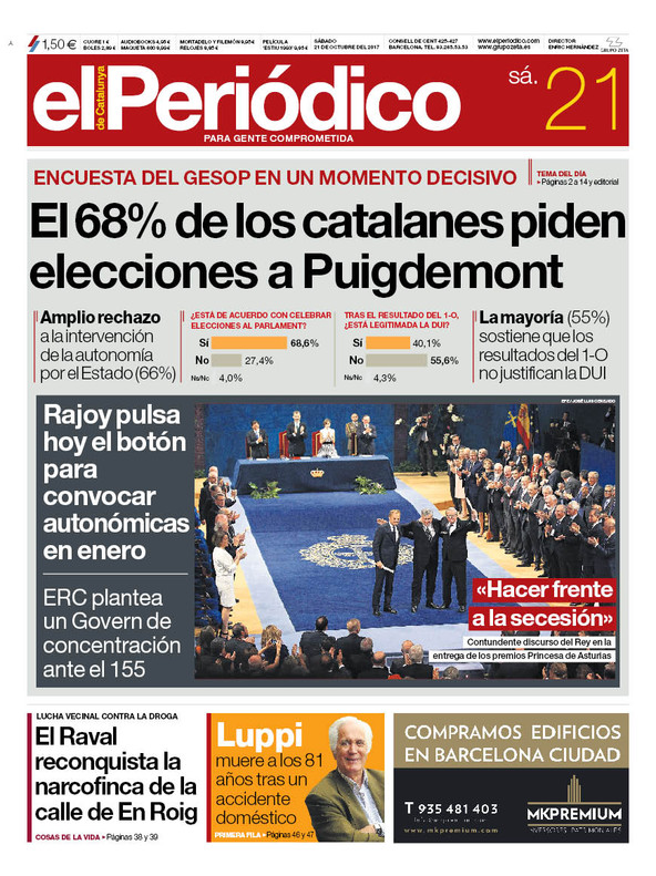 La portada de EL PERIÓDICO del 21 de octubre del 2107.
