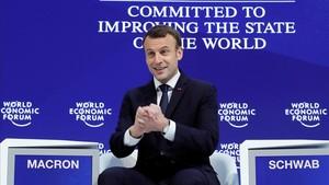 Macron, en el Foro Económico Mundial de Davos, este miércoles 24 de enero.