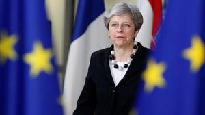 Theresa May, a su llegada a la sede del Consejo.