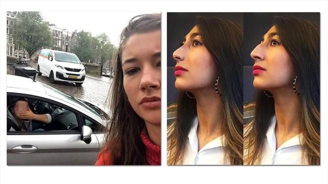 A la izquierda Noa Jansma, posando junto a un presunto acosador en un selfi para su campaña @dearcatcallers, a la derecha, Radhika Sanghani posando para una foto de Instagram perteneciente a su campaña #sideprofileselfie