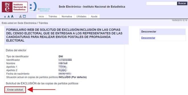 Pàgina de l'INE des d'on enviar la sol·licitud d'exclusió de l'enviament de la propaganda electoral