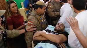 Alan Ruschel, a su llegada al hospital de Chapecó, el pasado día 13.