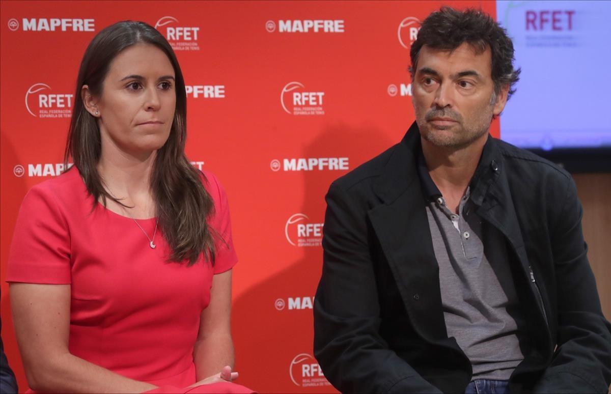 Anabel Medina y Sergi Bruguera, durante su presentación en el CSD.