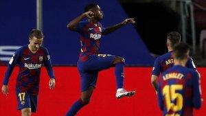Ansu Fati celebra el gol marcado al Leganés y que supuso el 1-0 para el Barça.