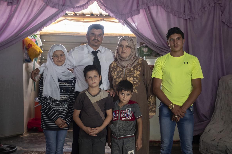 Ahmad y su familia en el campo de refugiados de Zaatari, Jordania.