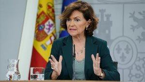 Carmen Calvo,vicepresidenta del Gobierno y ministra de la Presidencia, Relaciones con las Cortes y Memoria Democrática.
