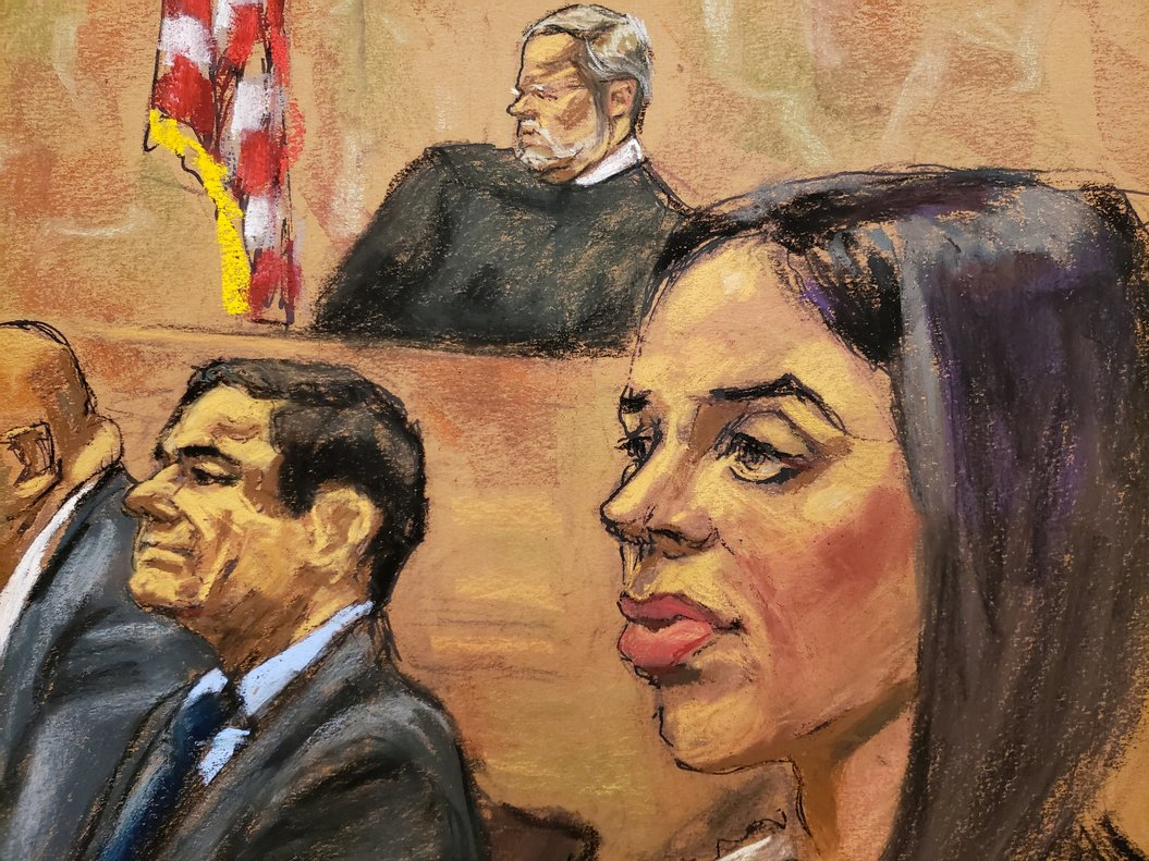 Accused Mexican drug lord JoaquinEl ChapoGuzman is seen as Guzman s wife Emma CoronelRlooks on from the gallery while Lucero Guadalupe Sanchez Lopeza girlfriend of Guzmannot showntestifiesin this courtroom sketch in Brooklyn federal courtin New York City REUTERS Jane Rosenberg