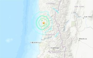 Mapa del epicentro de un sismo en Chile.
