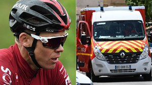 Chris Froome, junto a la ambulancia que le ha trasladado al hospital.