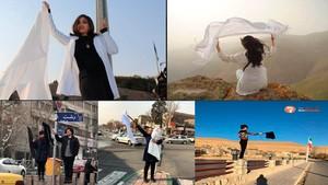 Mujeres iranís se quitan el velo islámico para protestar por su imposición.