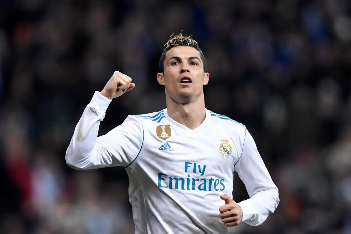 Cristiano Ronaldo, en plena celebración, este sábado ante la Real Sociedad.