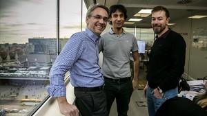 David Deprez (responsable de finanzas),Ignasi Vilajosana (consejero delegado) yRaoul Roverato (responsable de operaciones), de Worldsensing.