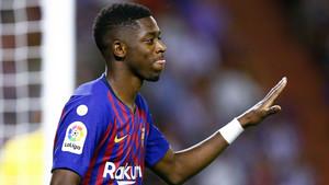 Dembélé, durante el partido ante el Valladolid, este sábado.
