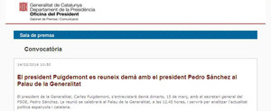 Captura del comunicado de prensa erróneo emitido por la Generalitat de Catalunya refiriéndose a Pedro Sánchez como presidente