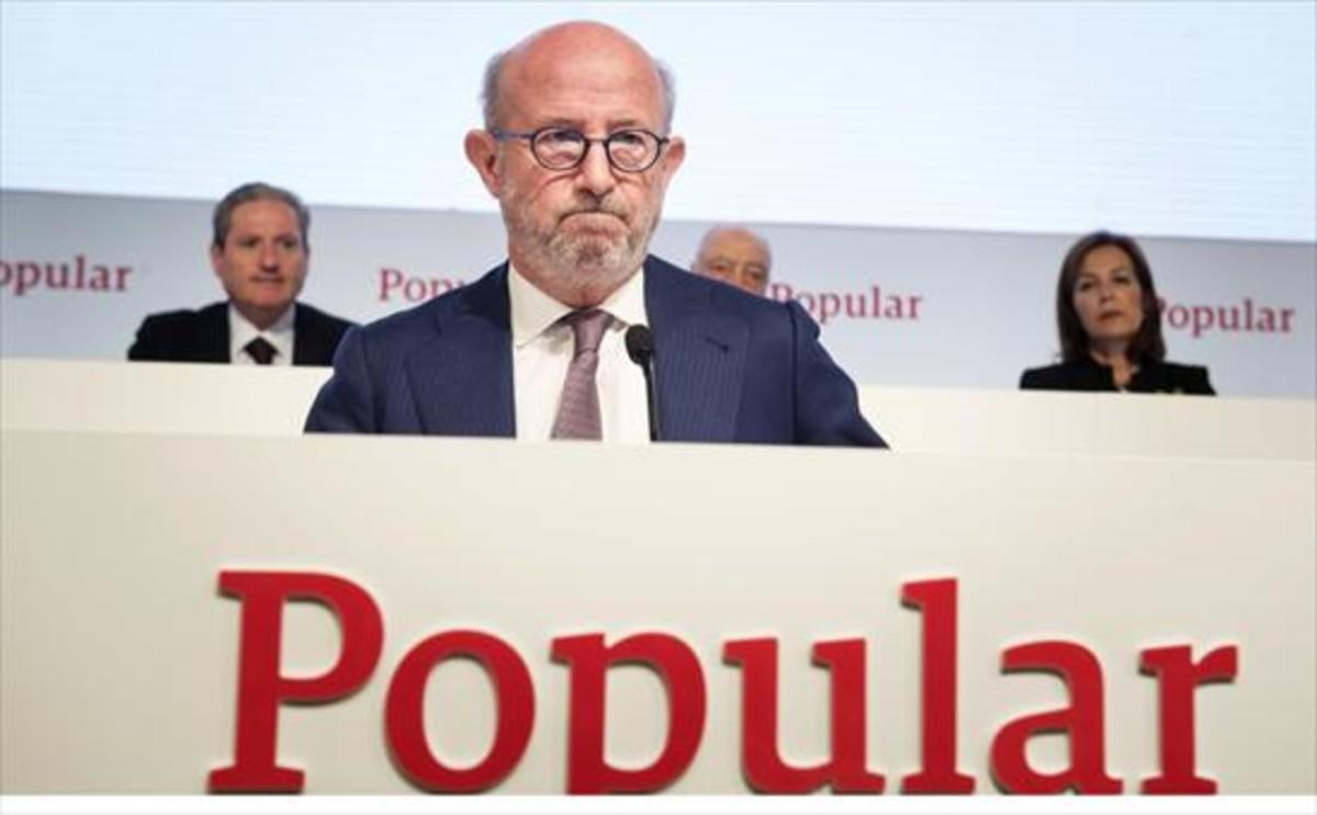 Emilio Saracho, durante una junta de accionistas del Banco Popular cuando era presidente.
