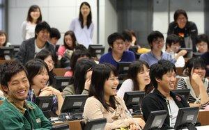Estudiantes en un aula de la Univesidad de Juntendo, en Tokio.