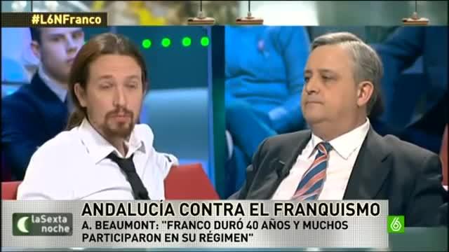 El líder de Podemos, Pablo Iglesias, discute con el periodista Alfonso Rojo en el programa La Sexta Noche.