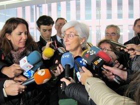 La fiscal general del Estado, María José Segarra, en la Ciutat de la Justícia de Barcelona este jueves.