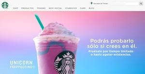 ElFrappuccino Unicornio, en la web de Starbucks México.