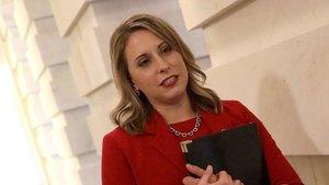 Katie Hill, el día de su dimisión en el Congreso de EEUU, este jueves.