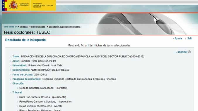 La tesi de Sánchez no es pot consultar 'online', només a la biblioteca de la universitat
