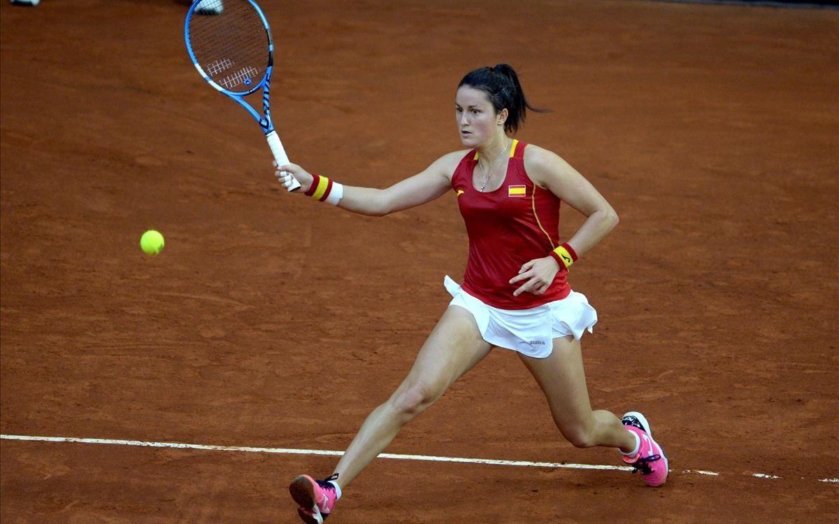 Laura Arruabarrena, en acción en la eliminatoria ante Italia