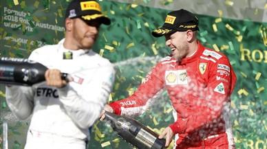 """Vettel: """"Hoy, Lewis, el 'modo fiesta' será para Kimi y para mí"""""""