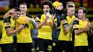 Los jugadores del Boorussia Dortmund celebran la última victoria antes del parón invernal de la Bundesliga.