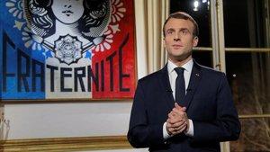 El presidente francés, Emmanuel Macron, durante su mensaje de Fin de Año.