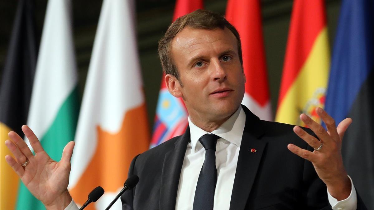 Macron, durante su discurso en la Sorbona, en París, el 26 de septiembre.