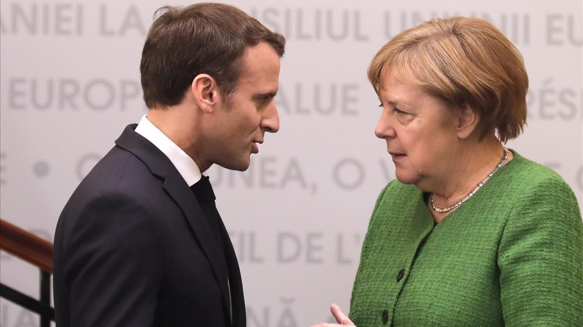 Macron y Merkel durante la cumbre de la UE en Sibiu, Rumanía, el pasado 9 de mayo.