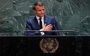 El presidente de Francia,Emmanuel Macron, en la sede de la ONU.