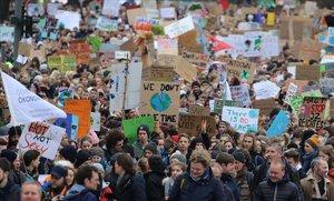 Manifestación contra el cambio climático en Hamburgo, Alemania.
