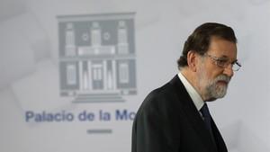 Mariano Rajoy, en su comparecencia esta noche en la Moncloa.