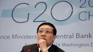 El ministro chino de Finanzas, Lou Jiwei, durante la rueda de prensa del G-20.