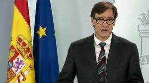 El ministro de sanidad, Salvador Illa, en una rueda de prensa en Moncloa.
