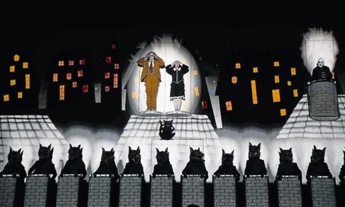 Un momento del montaje de 'La flauta mágica' que ha estrenado en el Liceu la compañíabritánica 1927.