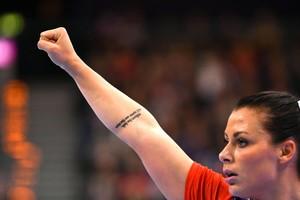 Nora Mork, en un partido con Noruega.